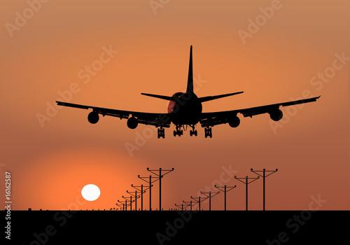 Fotografia  Jumbo Jet Sunset Landing Vector