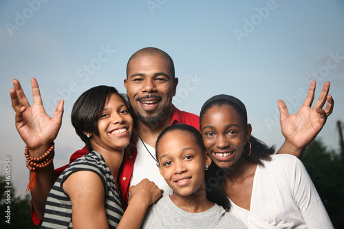 Fotografie, Obraz  Happy African American family, father with teenage daughters.