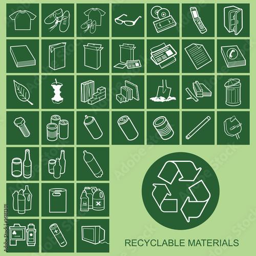 Plakaty BHP recyclable-material-icons-indywidualnie-warstwowe
