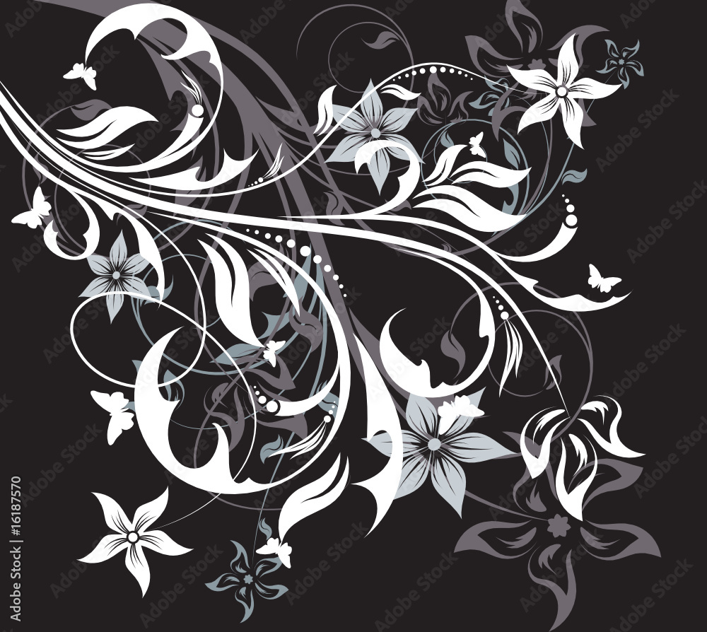 Wall Murals Floral Abstraction On Black Background Nikkel Art