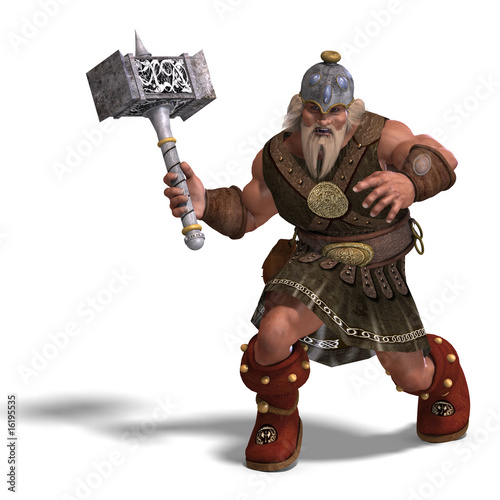 Photo mighty fantasy dwarf with a hammer