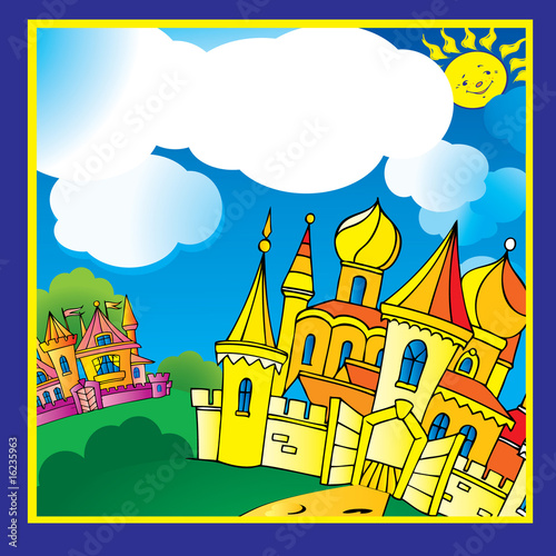 Poster Castle Beautiful palace in sunny weather. Vector art-illustration.