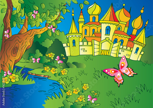 Garden Poster Castle Beautiful landscape with a castle and river. Fairy-tale.