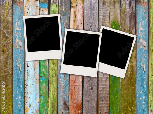 Fotografie, Obraz  Three Blank Polaroids on Wooden Background