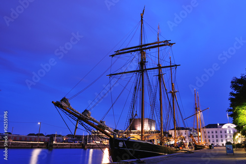 Tall ship in the harbor of Copenhagen Denmark Canvas