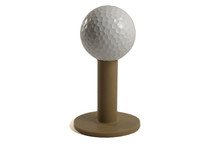 Golf Ball On Rubber Tee Islolated On White Background