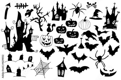 Spoed Fotobehang Halloween Symbolsammlung für Halloween