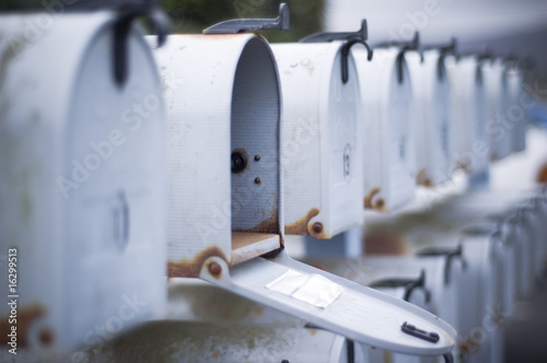 Fotografía mailbox open in row of mailboxes