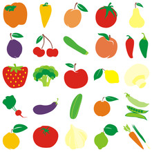 Fully Editable Vector Fruits And Vegetables With Details