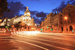 Gran via street in Madrid, Spain at night