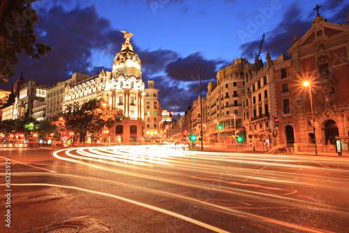 In de dag Madrid Gran via street in Madrid, Spain at night