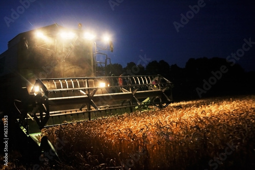 Leinwand Poster Combine Harvester in the Cornfield 07