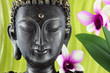 Bouddha et fleur d'orchidée