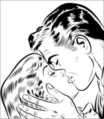 Naklejkacouple amoureux qui s'embrasse