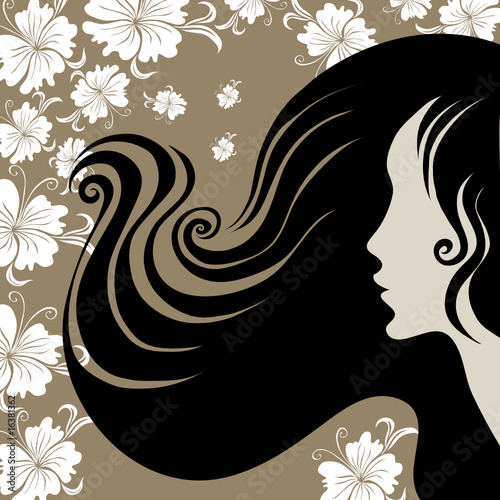 Floral femme Closeup decorative vintage woman with flower in long hair