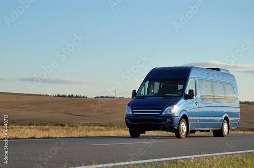 Fotografie, Obraz  Blue minibus on highway