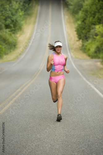 Fotografia, Obraz  Attractive Female Runner on Country Road
