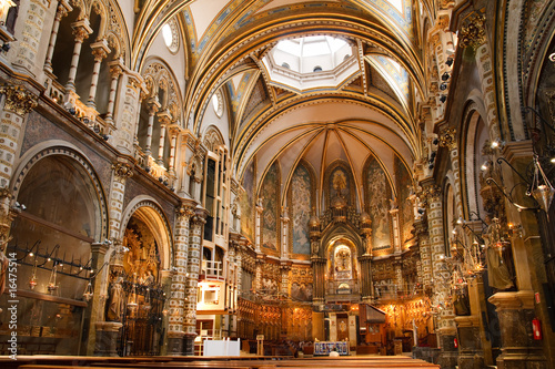 Leinwand Poster Basilica at the Montserrat Monastery near Barcelona, Catalonia,