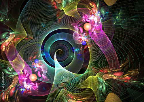 Foto op Aluminium Fractal waves Abstract Multicolor Background