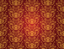 Seamless Red And Gold Floral V...