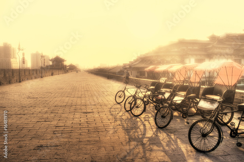 Xian / China  - Town wall with bicycles