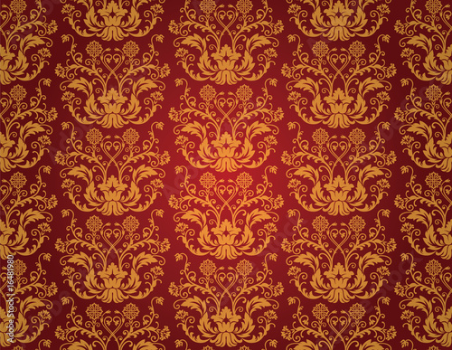 Seamless red and gold floral vintage wallpaper Fototapeta