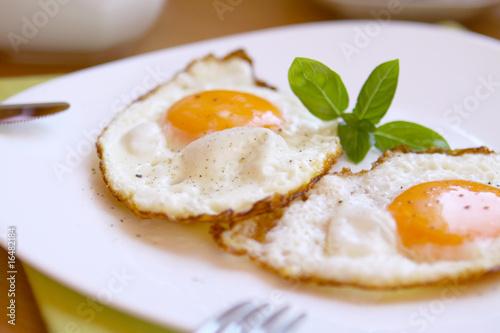 Fotobehang Gebakken Eieren spiegeleier,frühstück
