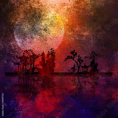 Photo Stands Magenta Asia Landscape Textured Painting