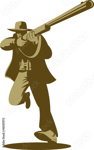 Hunter running and aiming a rifle at you - Buy this stock