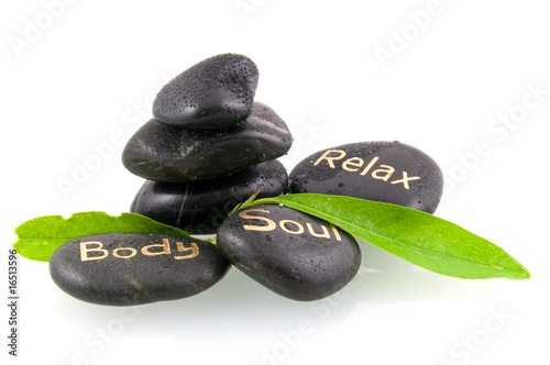 Doppelrollo mit Motiv - Black massage stones with green leaves (von pholien)
