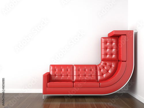 Fotografie, Obraz  yellow couch bended to climb up wall