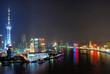 China Shanghai Huangpu river and Pudong aerial view.