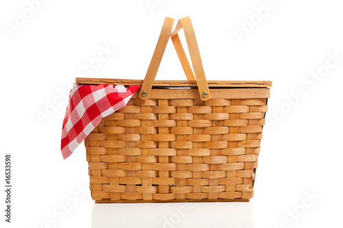 Fotografie, Obraz  Wicker Picnic Basket with Gingham Cloth