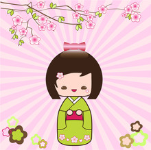 Kokeshi Japanese Doll Card Pink Floral Background
