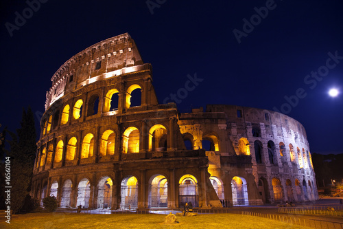 Rome Colosseum Coliseum Overview Moon Night Rome Italy