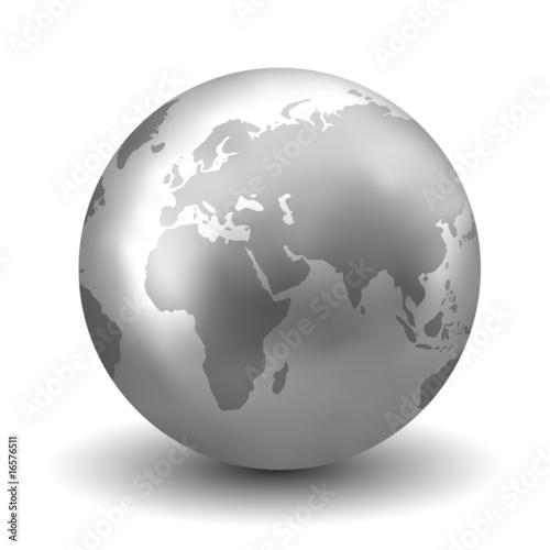 Fotografie, Obraz  Vector Shiny Silver Earth Globe