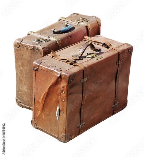 Fotografia  Two antique suitcases isolated with clipping path