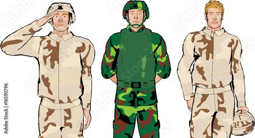 Deurstickers Militair Soldier Illustration