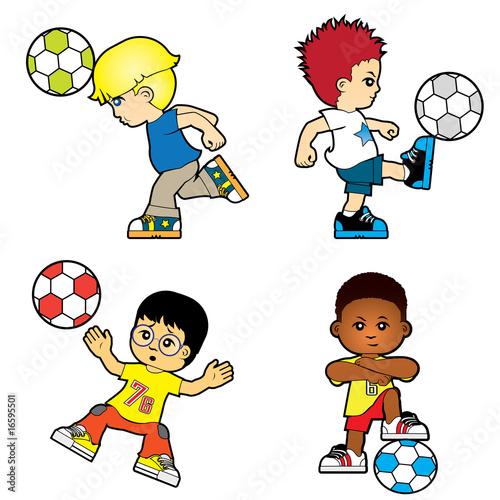 Papiers peints Chambre bébé Four boys are playing football