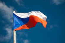Czech Republic Flag Against Blue Sky