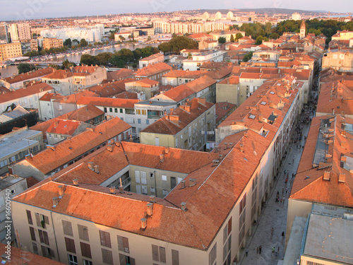 In de dag Centraal Europa Old city of Zadar, Adriatic Coast, Croatia, aerial view