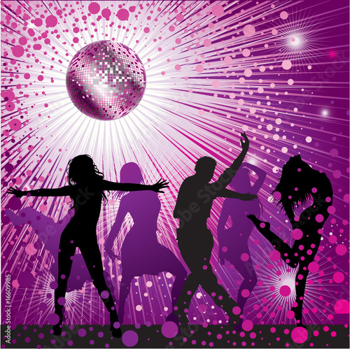 Vector background with people dancing in night-club