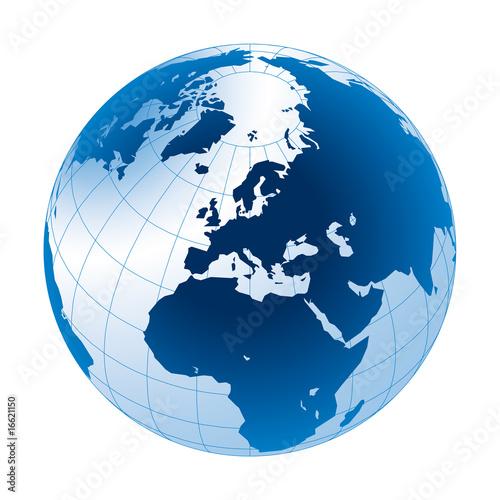 Fotografie, Obraz  Erdball und Business weltweit