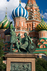 Fototapeta na wymiar St. Basil Cathedral and Pozharsky And Minin Monument