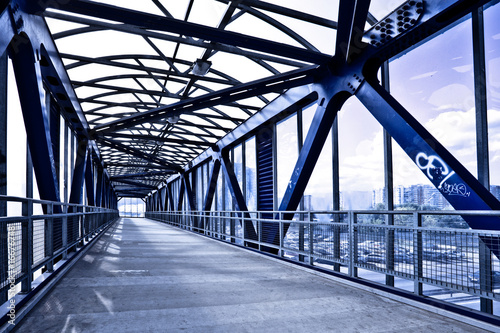 Foto op Canvas Bruggen Blue corridor and stairs