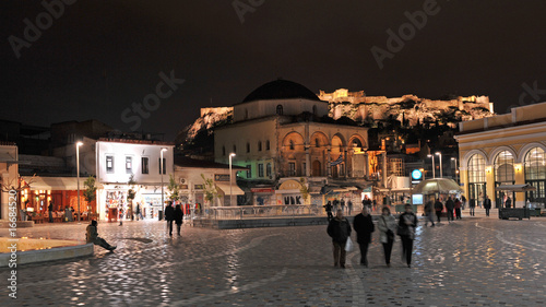 Monastiraki square at night, Athens, Greece