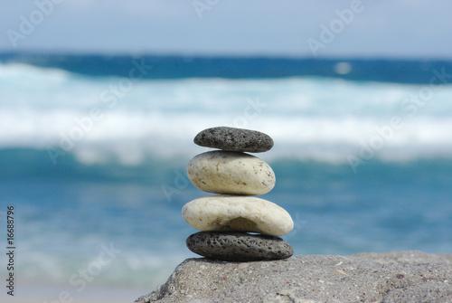Poster Zen pierres a sable zen à la plage