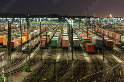 Fotografie, Obraz  Rangierbahnhof Maschen bei Hamburg bei Nacht