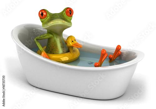 Grenouille dans son bain Canvas Print