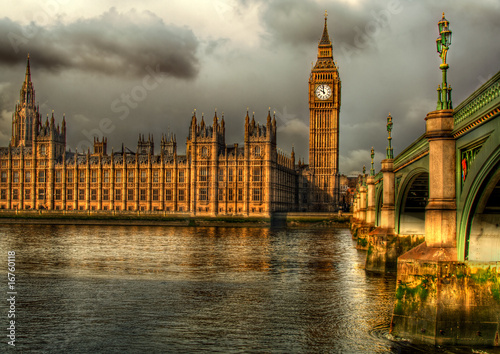 Foto-Kassettenrollo premium - Westminster Palace on a golden morning
